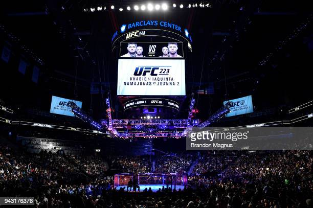 A general view of the Octagon during the UFC 223 event inside Barclays Center on April 7 2018 in Brooklyn New York