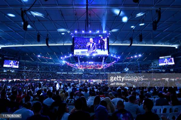 General view of the Octagon during the UFC 243 event at Marvel Stadium on October 06, 2019 in Melbourne, Australia.