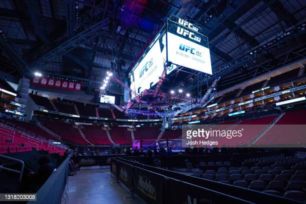 General view of the Octagon during the UFC 262 event at Toyota Center on May 15, 2021 in Houston, Texas.