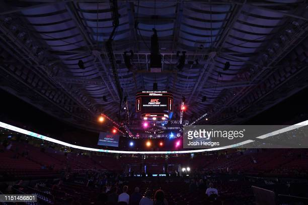 A general view of the Octagon during the UFC Fight Night event at Bon Secours Wellness Arena on June 22 2019 in Greenville South Carolina