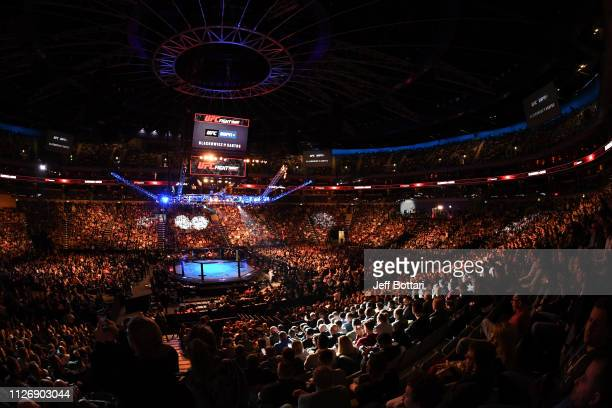 A general view of the Octagon during the UFC Fight Night event at O2 Arena on February 23 2019 in the Prague Czech Republic