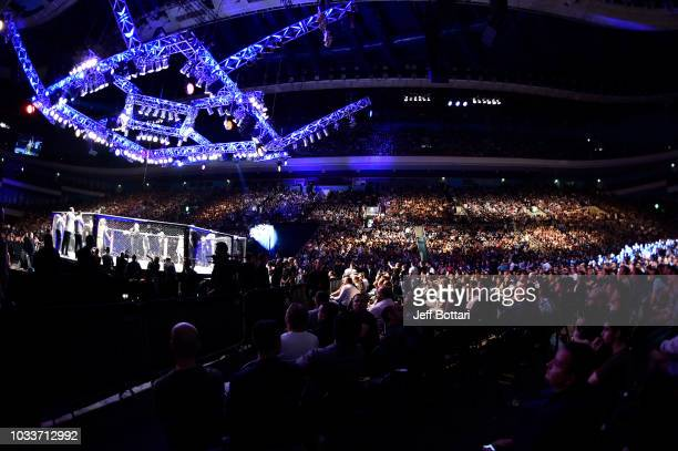A general view of the Octagon during the UFC Fight Night event at Olimpiysky Arena on September 15 2018 in Moscow Russia
