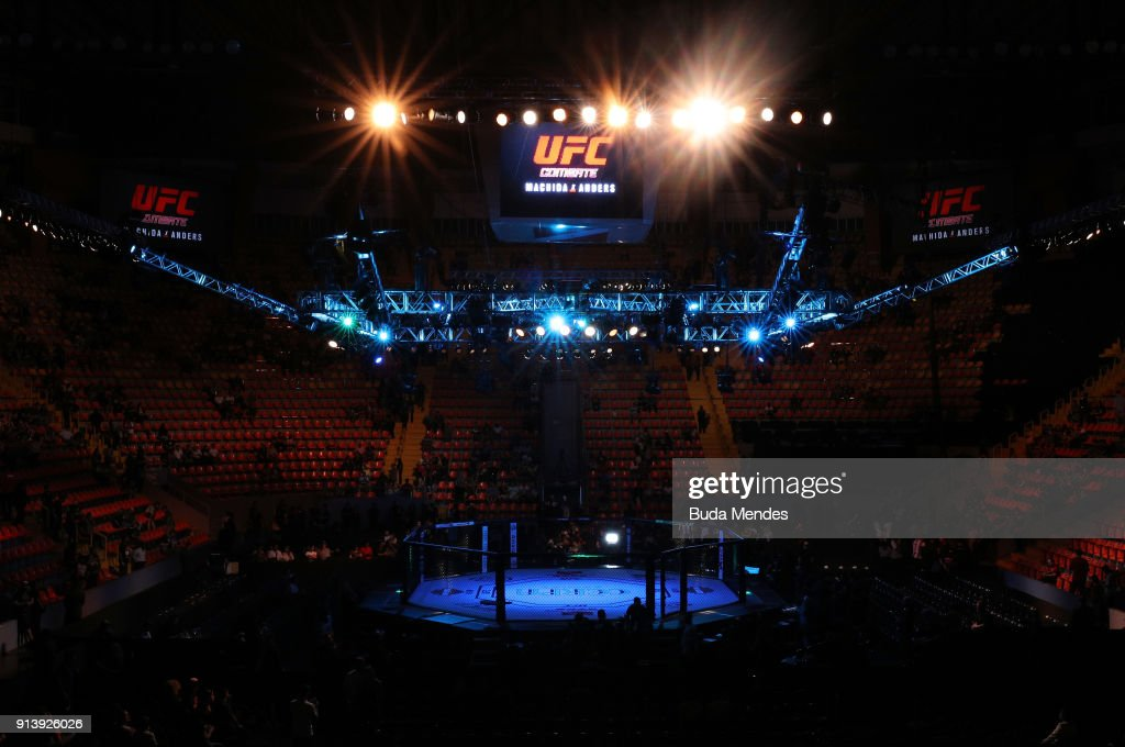 A general view of the Octagon during the UFC Fight Night event at Mangueirinho Arena on February 03, 2018 in Belem, Brazil.