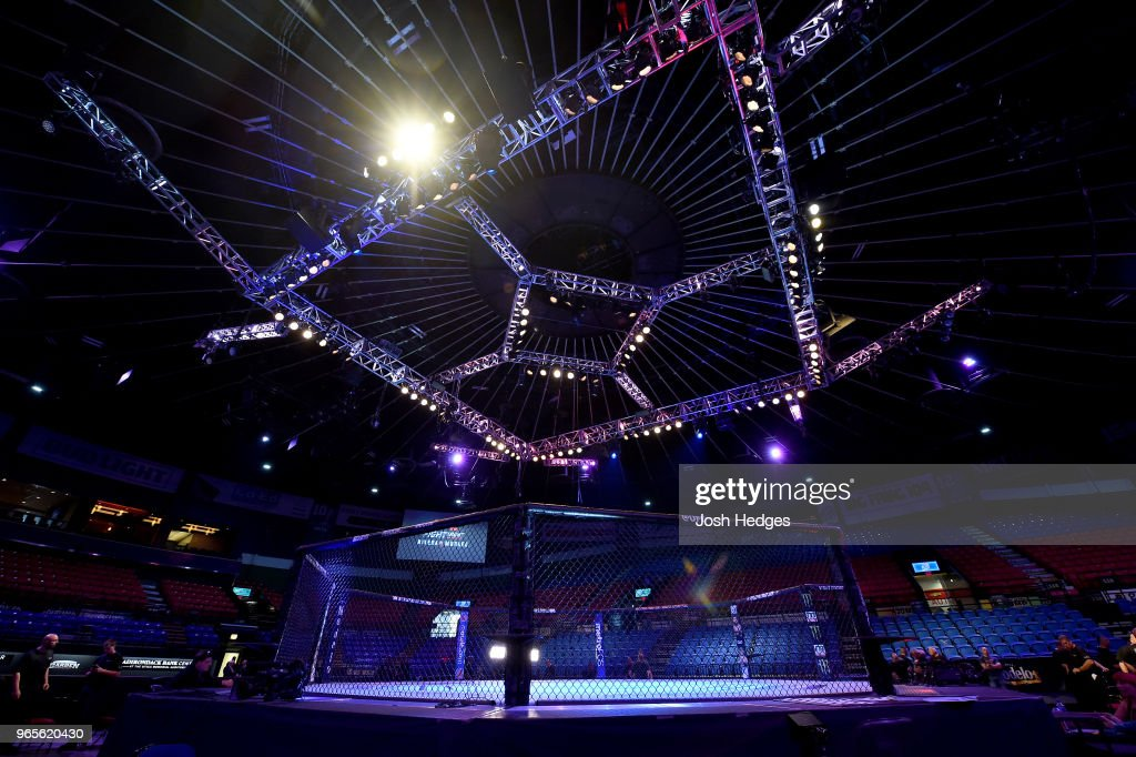 A general view of the Octagon during the UFC Fight Night event at the Adirondack Bank Center on June 1, 2018 in Utica, New York.