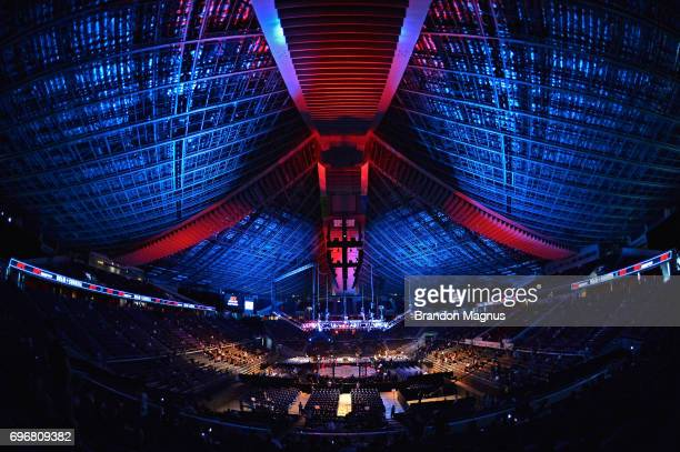 A general view of the Octagon prior to the start of the UFC Fight Night event at the Singapore Indoor Stadium on June 17 2017 in Singapore