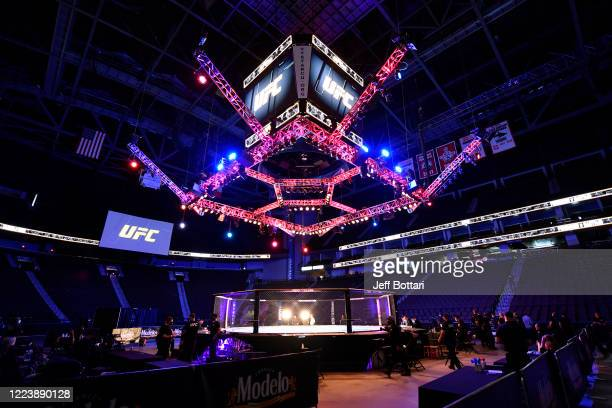 General view of the Octagon prior to the UFC 249 event at VyStar Veterans Memorial Arena on May 09, 2020 in Jacksonville, Florida.