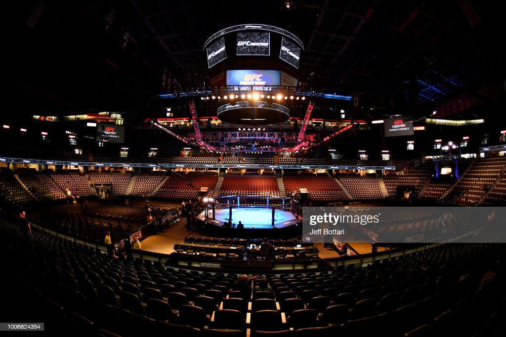 A general view of the Octagon prior to the UFC Fight Night event at Scotiabank Saddledome on July 28, 2018 in Calgary, Alberta, Canada.