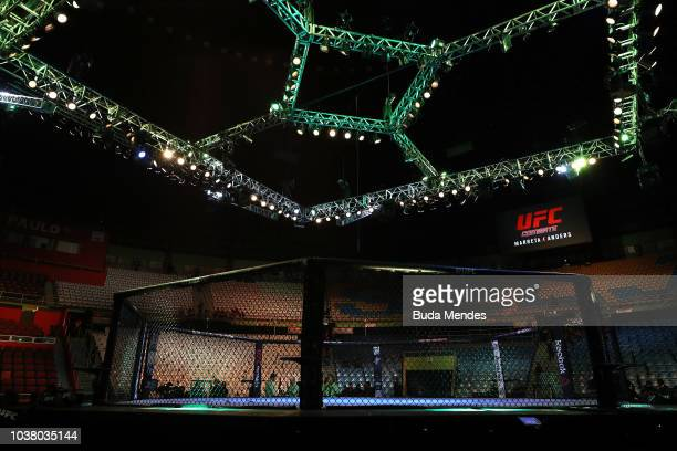A general view of the Octagon prior to the UFC Fight Night event at Ibirapuera Gymnasium on September 22 2018 in Sao Paulo Brazil