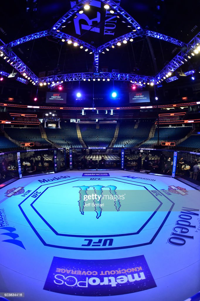 A general view of the Octagon prior to the UFC Fight Night event at Amway Center on February 24, 2018 in Orlando, Florida.