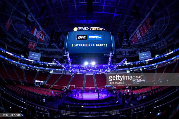 A general view of the Octagon prior to the UFC Fight Night event at PNC Arena on January 25 2020 in Raleigh North Carolina