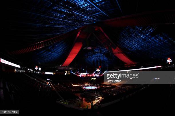 A general view of the Octagon prior to the UFC Fight Night event at the Singapore Indoor Stadium on June 23 2018 in Singapore