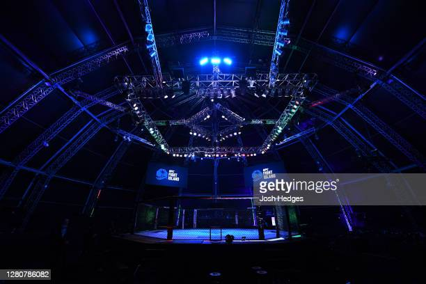 General view of the Octagon prior to the UFC Fight Night event inside Flash Forum on UFC Fight Island on October 18, 2020 in Abu Dhabi, United Arab...