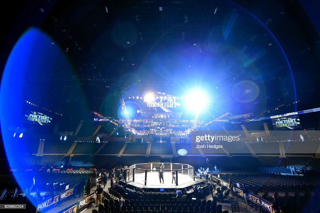 A general view of the Octagon prior to the UFC Fight Night event inside the Nassau Veterans Memorial Coliseum on July 22, 2017 in Uniondale, New York.