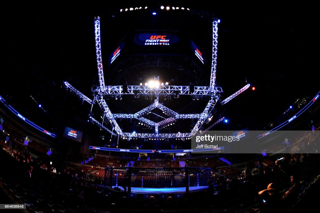 A general view of the Octagon prior to the UFC Fight Night event inside Ergo Arena on October 21, 2017 in Gdansk, Poland.