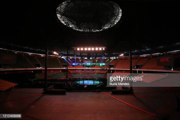 General view of the Octagon prior to the UFC Fight Night event on March 14, 2020 in Brasilia, Brazil.
