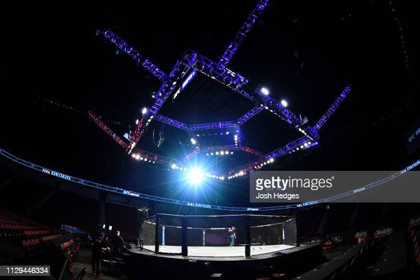 General view of the Octagon prior to UFC Fight Night event at Intrust Bank Arena on March 9, 2019 in Wichita, Kansas.