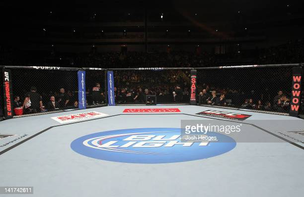 General view of the Octagon ring before the match with Takeya Mizugaki and Chris Cariaso during the UFC 144 event at Saitama Super Arena on February...