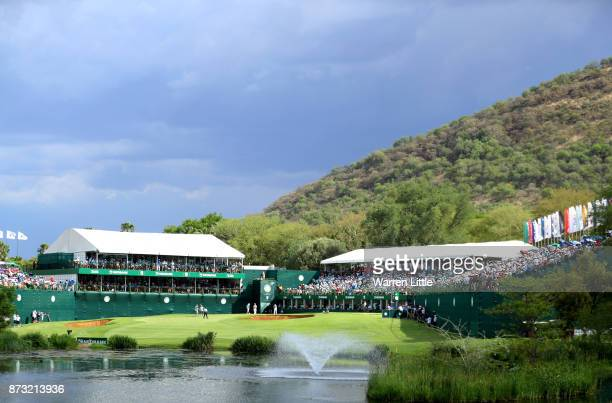 General View of the of the 18th green during the final round of the Nedbank Golf Challenge at Gary Player CC on November 12 2017 in Sun City South...