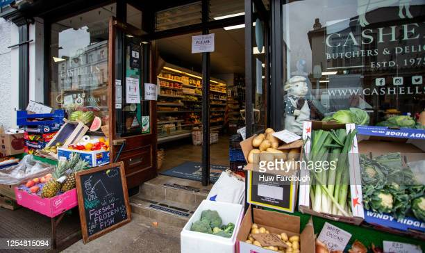 General view of the of the butchers on July 7, 2020 in Crickhowell, Wales, United Kingdom. Social distancing sterile spaces have been created outside...