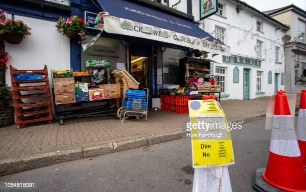 General view of the of the Green grocers on July 7, 2020 in Crickhowell, Wales, United Kingdom. Social distancing sterile spaces have been created...
