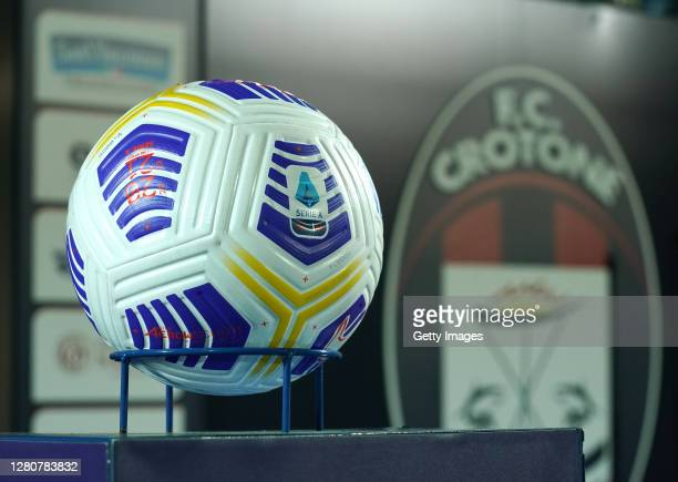 General view of the official ball before the Serie A match between FC Crotone and Juventus at Stadio Comunale Ezio Scida on October 17, 2020 in...