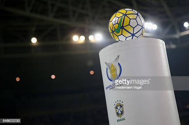 A general view of the official game ball during the match between Palmeiras and Santos for the Brazilian Series A 2016 at Allianz Parque on July 12...