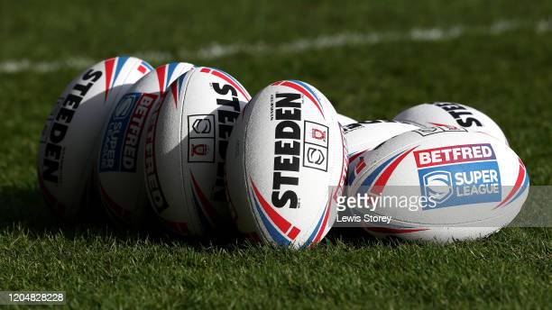 General view of the official match ball ahead of the Betfred Super League match between Salford Red Devils and Toronto Wolfpack at AJ Bell Stadium on...