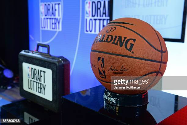 A general view of the Official @NBA Spalding Basketball inside the lottery room during the 2017 NBA Draft Lottery at the New York Hilton in New York...