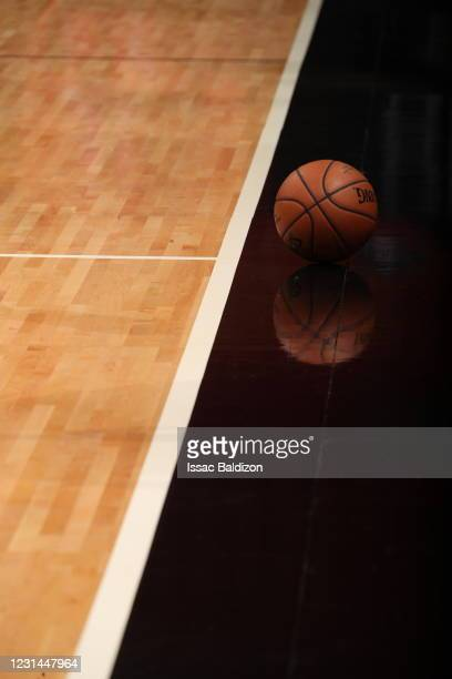 General view of the official NBA Spalding basketball used during the game between the Atlanta Hawks and the Miami Heat on February 28, 2021 at...