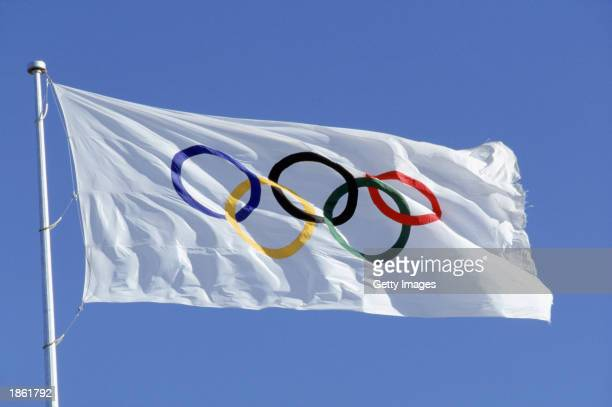 General view of the Official Olympic Flag taken during the 1988 Olympic Games in Seoul, Korea. Photo Illustration