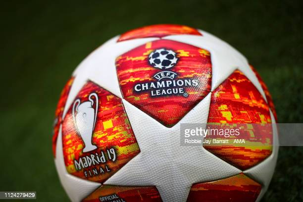 General View of the official UEFA Champions League adidas match ball with Madrid Final 2019 logo prior to the UEFA Champions League Round of 16 First...