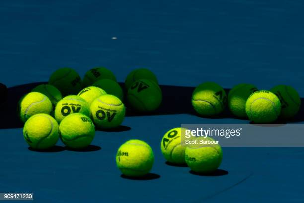 A general view of the official Wilson Australian Open tennis balls on day 10 of the 2018 Australian Open at Melbourne Park on January 24 2018 in...