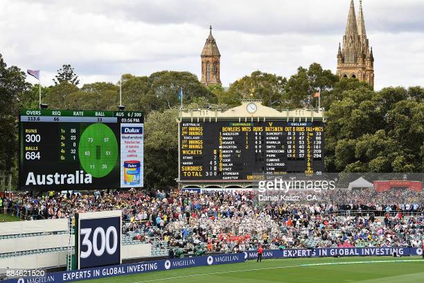 General view of the old and new scoreboard at Adelaide Oval during day two of the Second Test match during the 2017/18 Ashes Series between Australia...