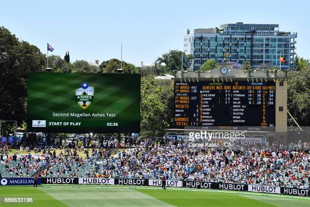 A general view of the old and new scoreboard during day five of the Second Test match during the 2017/18 Ashes Series between Australia and England...