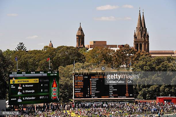 A general view of the old and new scoreboards and the hill during day two of the Third Test match between Australia and South Africa at Adelaide Oval...