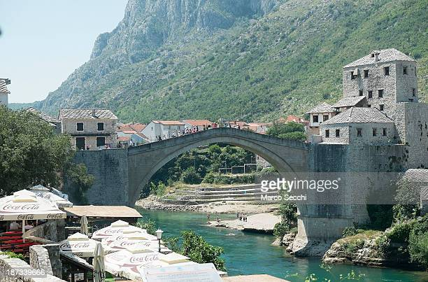 General view of the Old Bridge on June 26, 2013 in Mostar, Bosnia and Herzegovina. The Siege of Mostar began in 1992 during the Bosnian War with the...