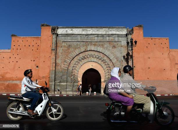 General view of the Old Gate into the Old Town on September 12 2014 in Marrakech Morocco