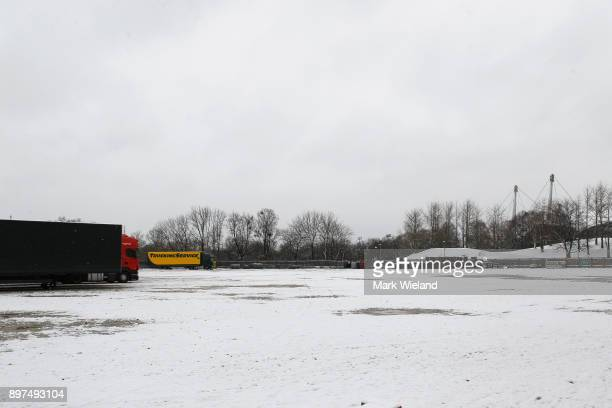 A general view of the old Olympic Velodrome site in the Olympic Park Munich Red Bull FC Bayern Munich have come together to build a multi purpose...