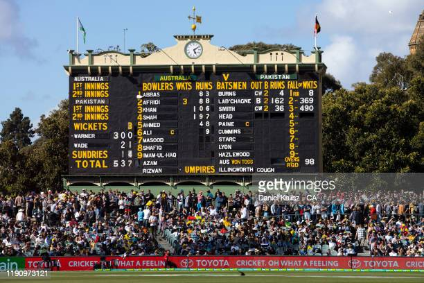 General view of the old scoreboard after David Warner of Australia reaches 300 runs in an innings on day 2 at Adelaide Oval on November 30, 2019 in...