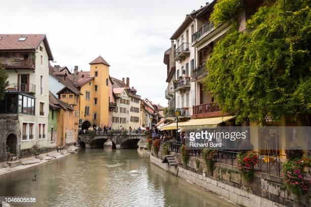 A general view of the old town of Annecy where the Thiou river is formed by the Annecy Lake water on October 6 2018 in Annecy France Lake Annecy has...