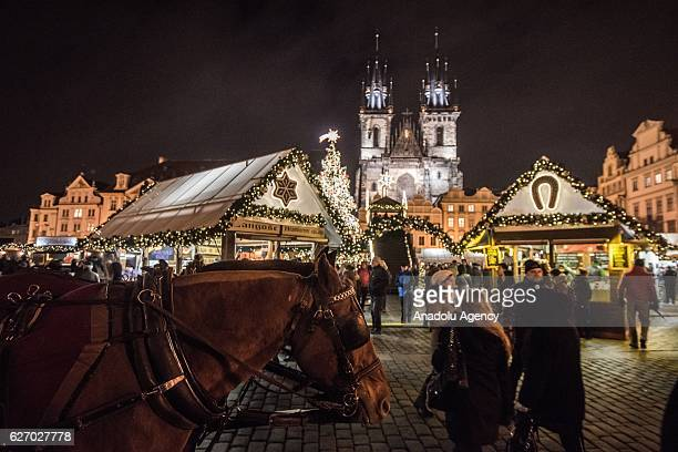 A general view of the Old Town Square at the Christmas market at Old Town Square in Prague Czech Republic on December 1 2016 Christmas markets...