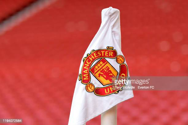 A general view of the Old Trafford corner flag before the Premier League match between Manchester United and Everton at Old Trafford on December 15...