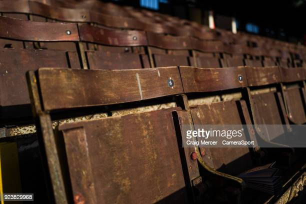 A general view of the old wooden seats in the stand at Craven Cottage home of Fulham FC during the Sky Bet Championship match between Fulham and...