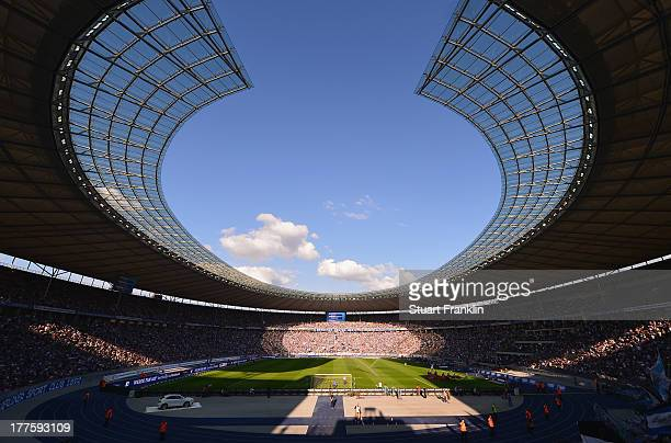 A general view of the Olympia stadium during the Bundesliga match between Hertha BSC and Hamburger SV at Olympiastadion on August 24 2013 in Berlin...