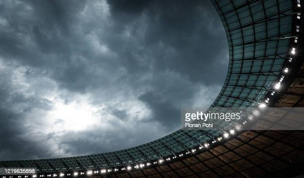 General view of the Olympiastadion after the Bundesliga match between Hertha BSC and Eintracht Frankfurt at Olympiastadion on June 13, 2020 in...