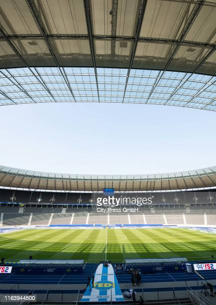 General view of the Olympiastadion before the Bundesliga match between Hertha BSC against VfL Wolfsburg at Olympiastadion on August 25, 2019 in...