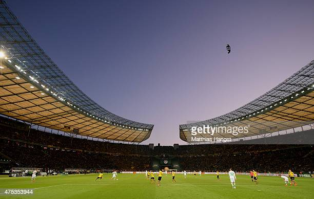 General view of the Olympiastadion during the DFB Cup Final match between Borussia Dortmund and VfL Wolfsburg at Olympiastadion on May 30 2015 in...