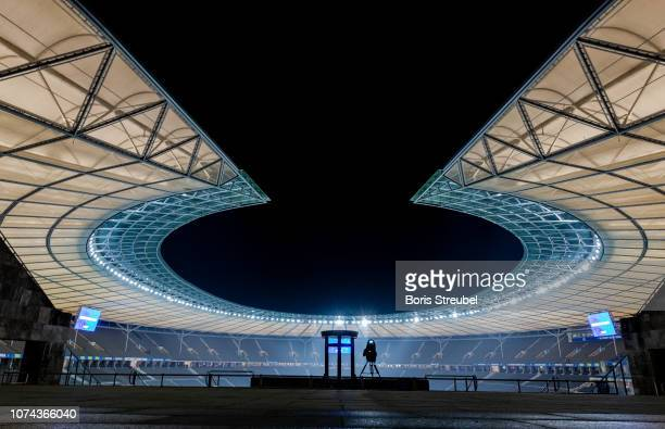 A general view of the Olympiastadion prior to the Bundesliga match between Hertha BSC and FC Augsburg at Olympiastadion on December 18 2018 in Berlin...