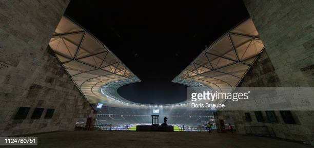 A general view of the Olympiastadion prior to the Bundesliga match between Hertha BSC and FC Schalke 04 at Olympiastadion on January 25 2019 in...