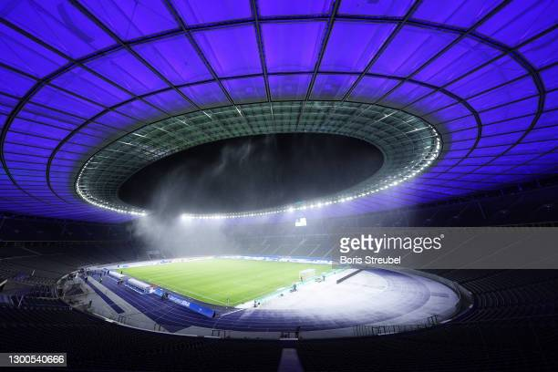 General view of the Olympiastadion prior to the Bundesliga match between Hertha BSC and FC Bayern Muenchen at Olympiastadion on February 05, 2021 in...